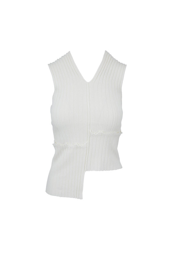 Helmut Lang Cotton Ball Paper Ribbed Mismatched Tank