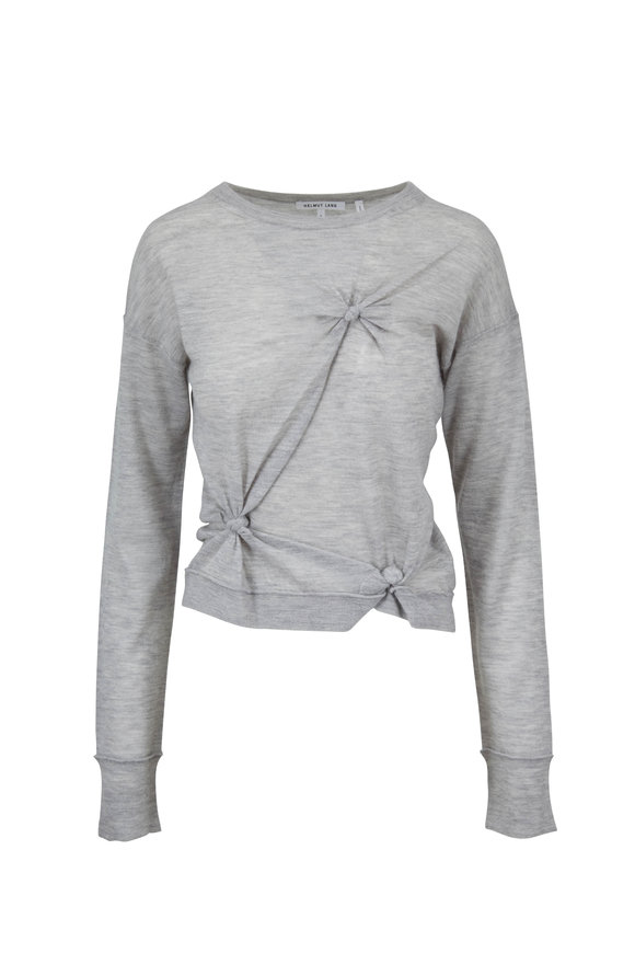 Helmut Lang Heather Gray Cashmere Knotted Sweater