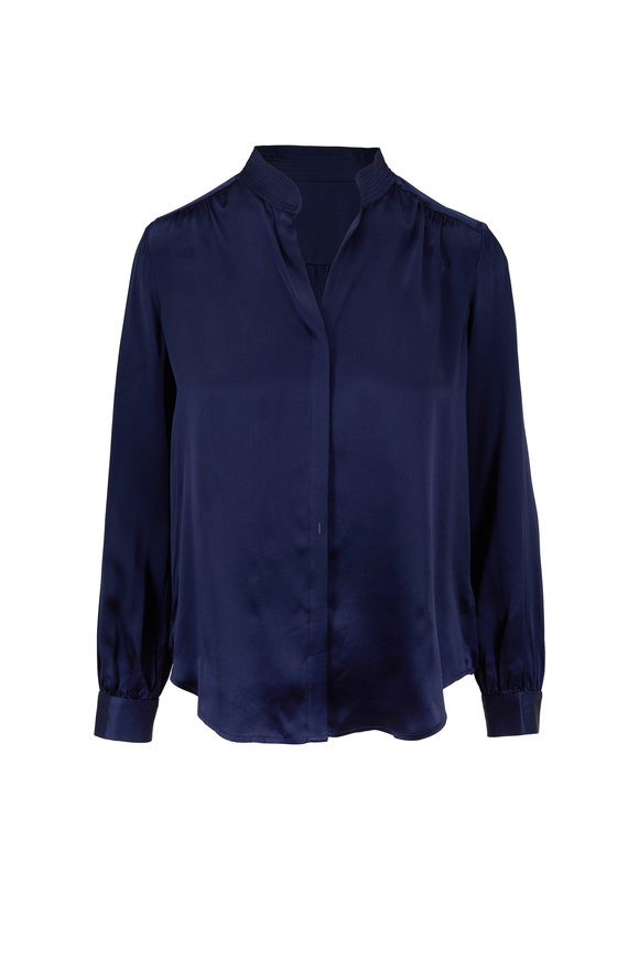 L'Agence Bianca Navy Blue Silk Charmeuse Blouse