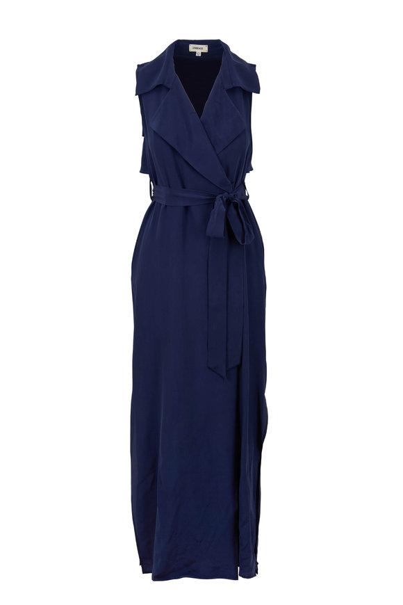 L'Agence Maya Crepe De Chine Sleeveless Wrap Dress