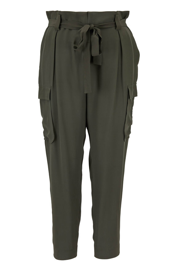 L'Agence Roxy Beetle Silk Charmeuse Cargo Pant