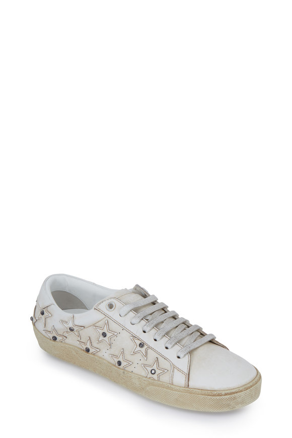 Saint Laurent White Stars & Crystal Distressed Leather Sneakers
