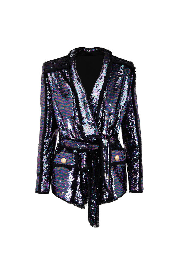 Balmain Multicolor Sequin Robe Jacket