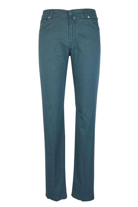Kiton Green Stretch Cotton Five-Pocket Pant