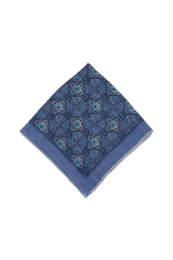 Isaia Blue Medallion Linen Pocket Square