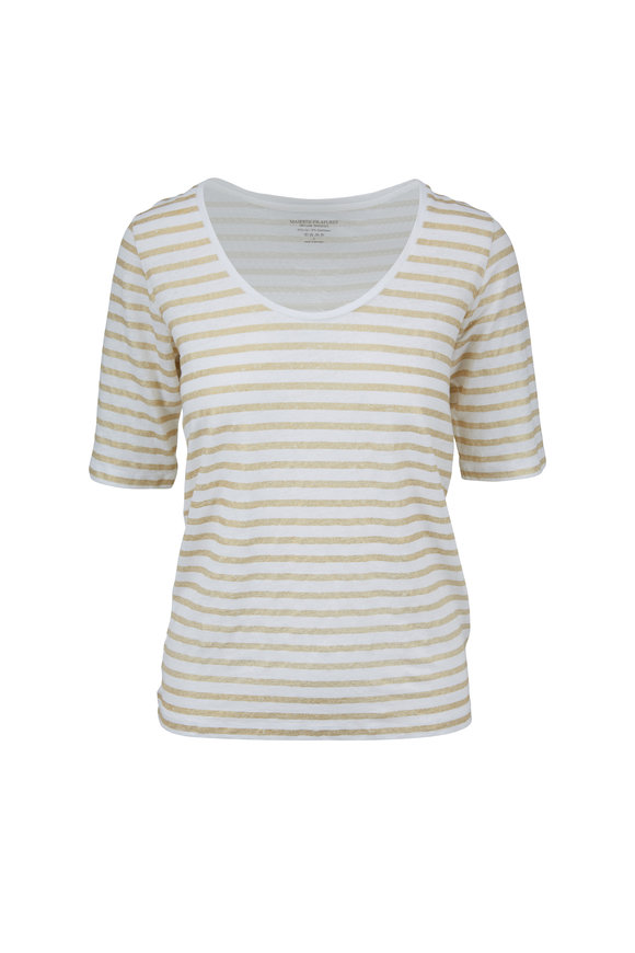 Majestic White & Gold Metal Striped Scoopneck T-Shirt