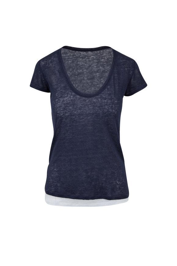 Majestic Marine Blue & White Linen Double Layer T-Shirt