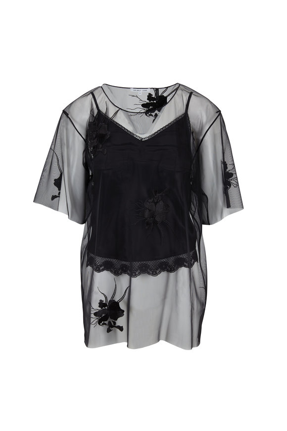 Helmut Lang Black Orchid Embroidery Sheer Top