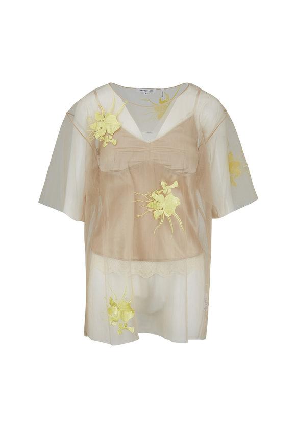 Helmut Lang Nude & Lemon Orchid Embroidery Sheer Top