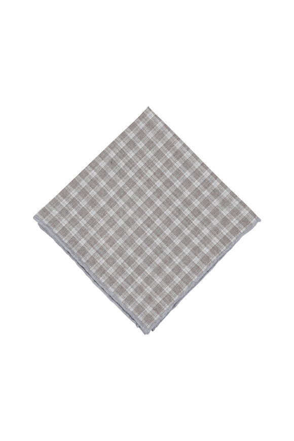 Paolo Albizzati Gray Plaid Silk Blend Pocket Square