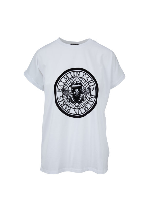 Balmain White Medallion Graphic T-Shirt