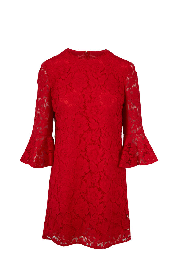 Valentino Red Heavy Lace Bell Sleeve Dress