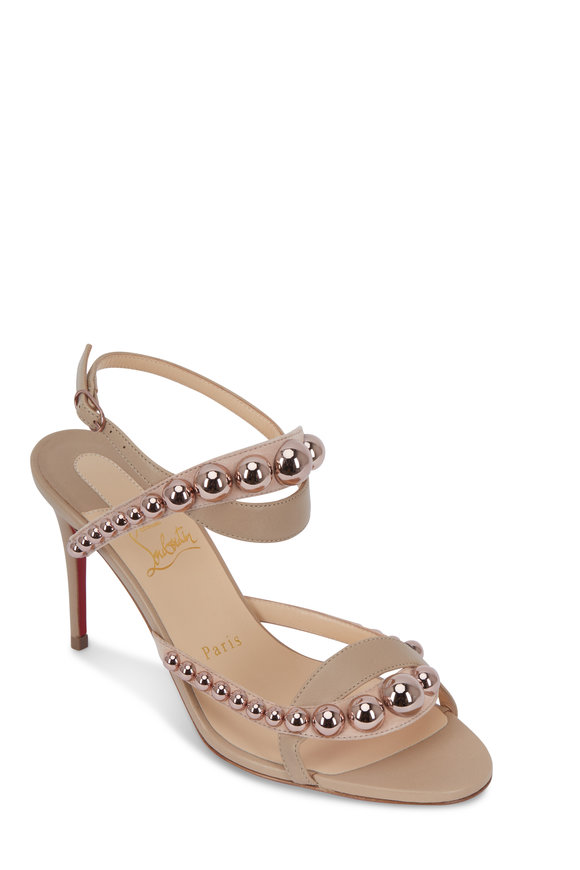 Christian Louboutin Galeria Nude & Bronze Rose Stud Sandal, 85mm