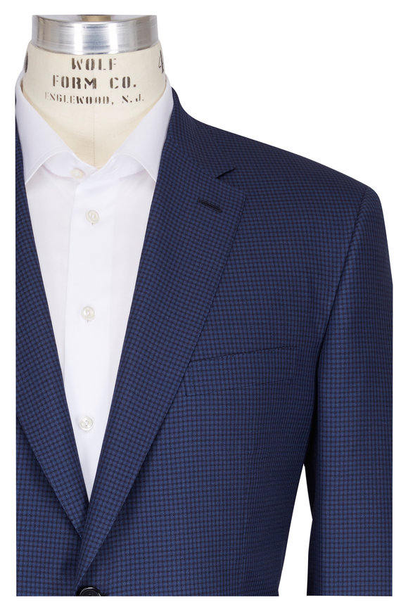 Brioni Navy Wool & Silk Micro Check Suit