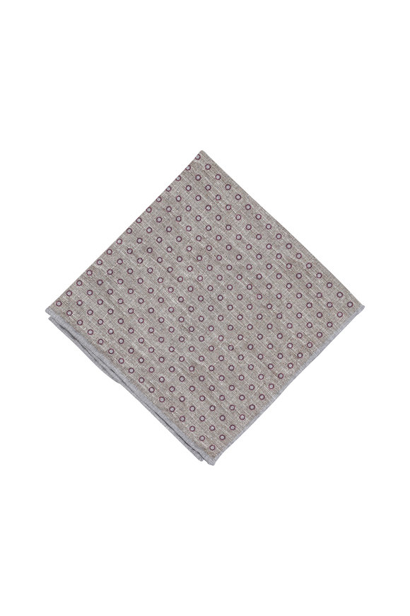 Paolo Albizzati Gray Dot Print Silk Blend Pocket Square