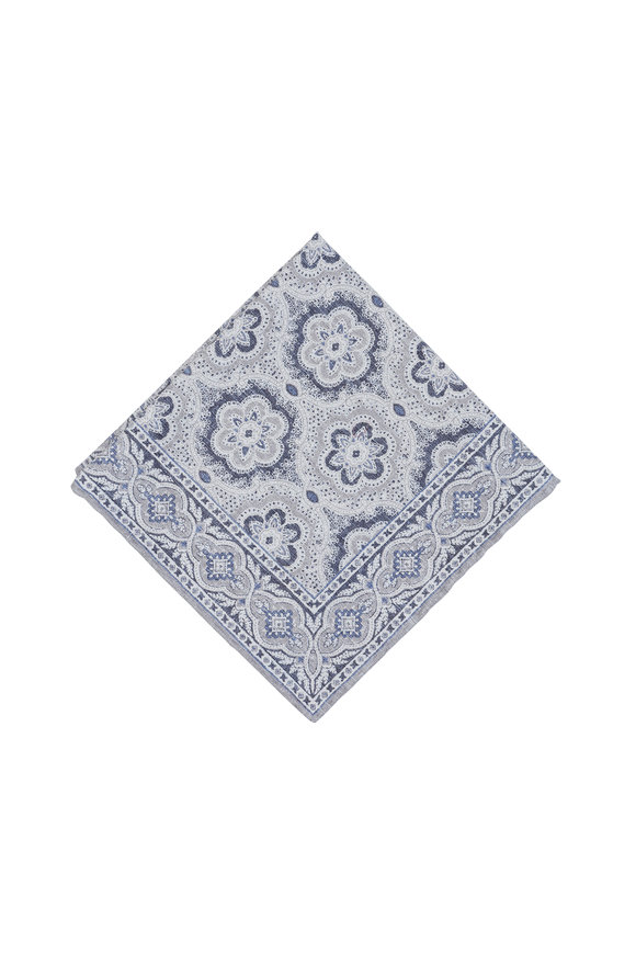 Paolo Albizzati Gray Medallion Silk Blend Pocket Square