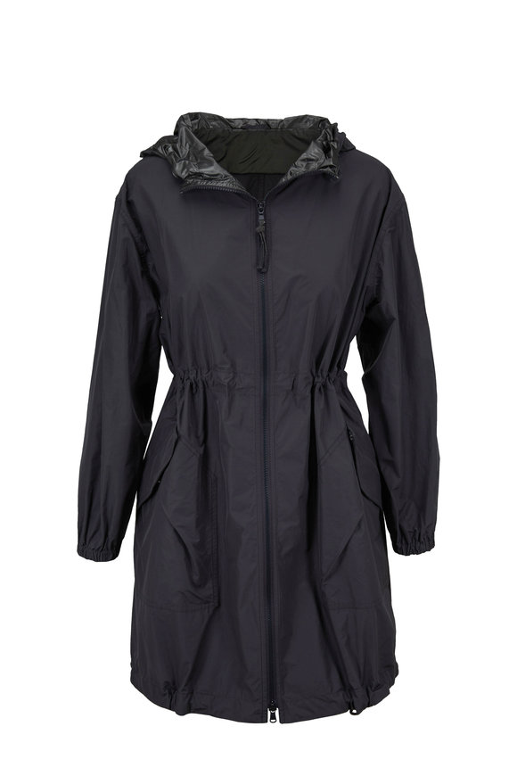 Brunello Cucinelli Graphite Taffeta Hooded Long Coat