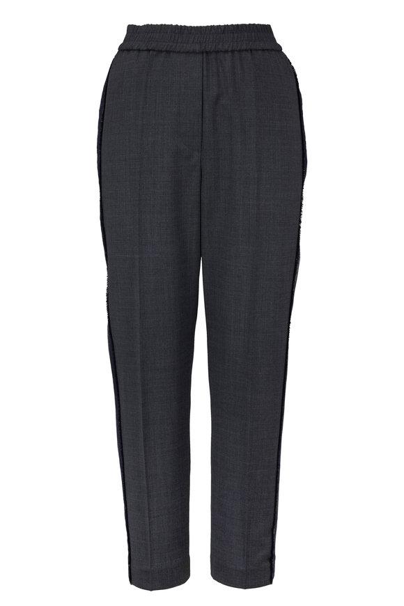 Brunello Cucinelli Dark Gray Wool & Denim Track Pant