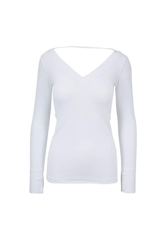 Brunello Cucinelli White Stretch Cotton Double V-Neck Top