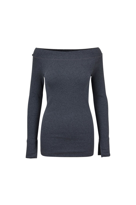 Brunello Cucinelli Charcoal Gray Stretch Cotton Boatneck Top