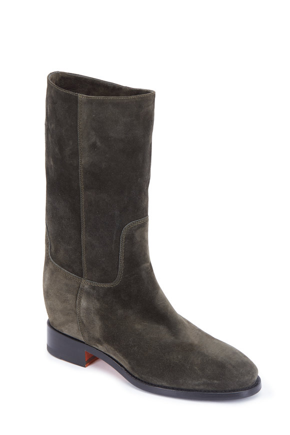 Santoni Hermione Donna Army Green Suede Mid-Calf Boot