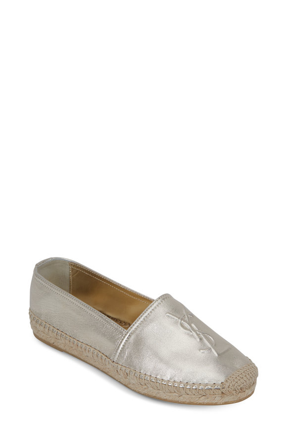 Saint Laurent Light Gold Leather Embossed Espadrille