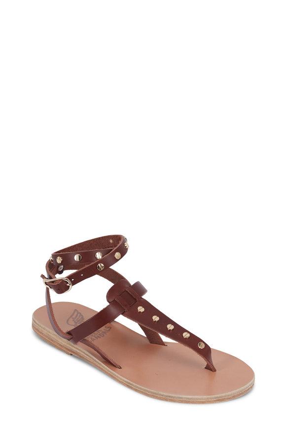 Ancient Greek Sandals Estia Brown Leather Stud Ankle Wrap Flat Sandal