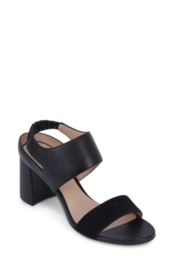 Stuart Weitzman Erica Black Leather & Suede Wide Band Sandal, 70mm