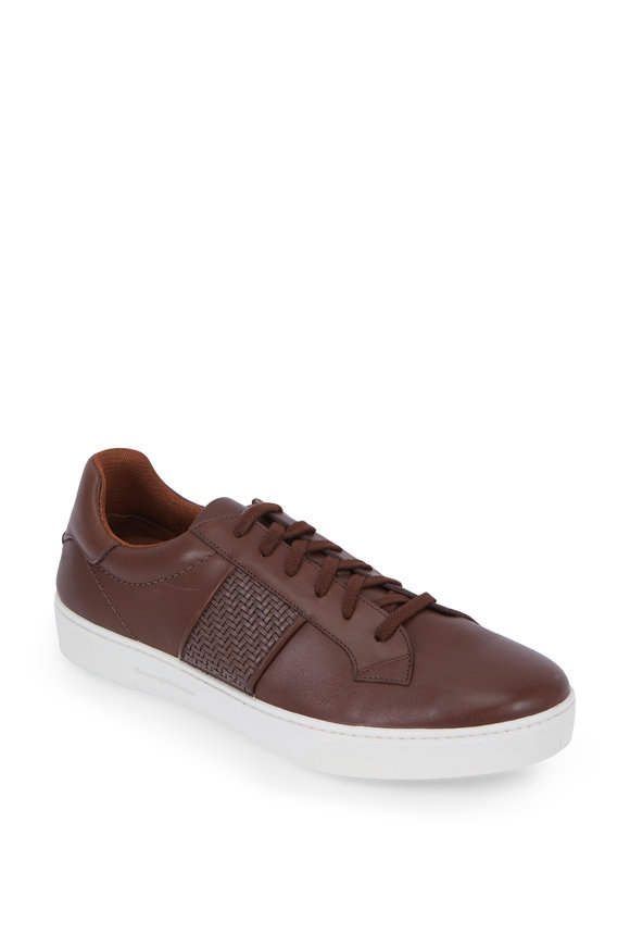 Ermenegildo Zegna Vittorio Brown Leather Vulcanizzato Flex Sneaker