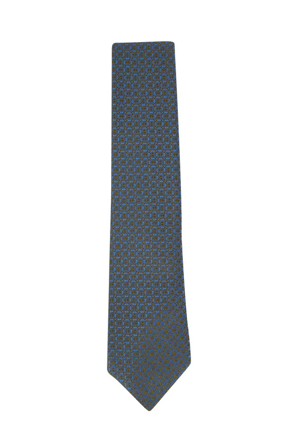 Charvet Olive & Blue Geometric Patterned Necktie