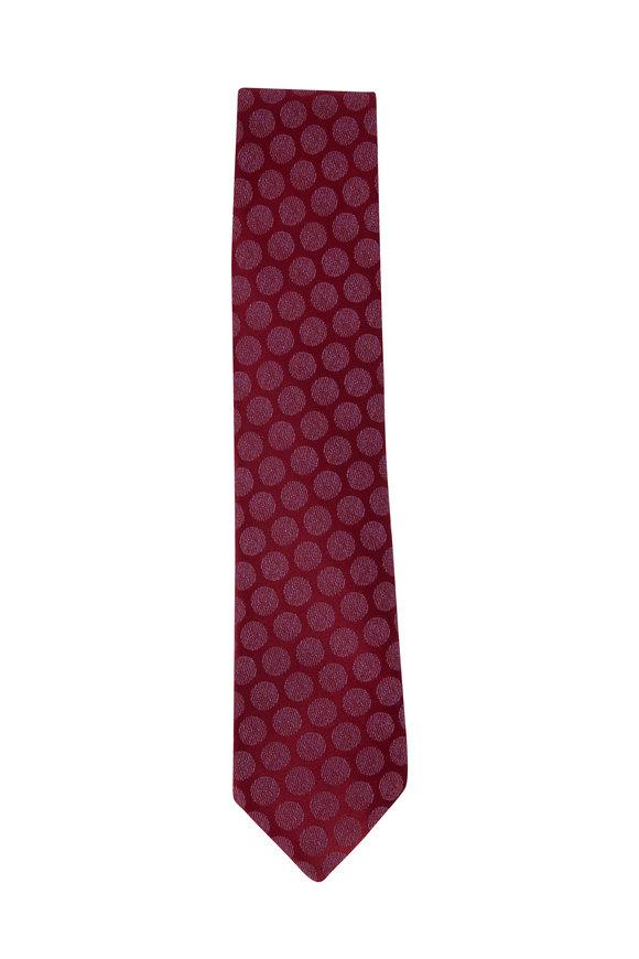 Charvet Burgundy & Pink Circle Patterned Necktie