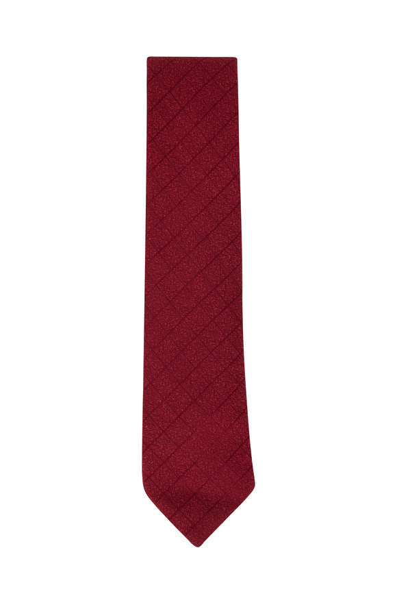 Charvet Burgundy Geometric Print Necktie