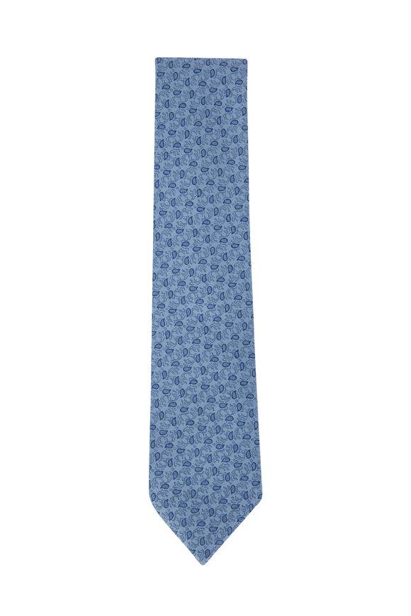 Charvet Blue Paisley Print Silk Necktie