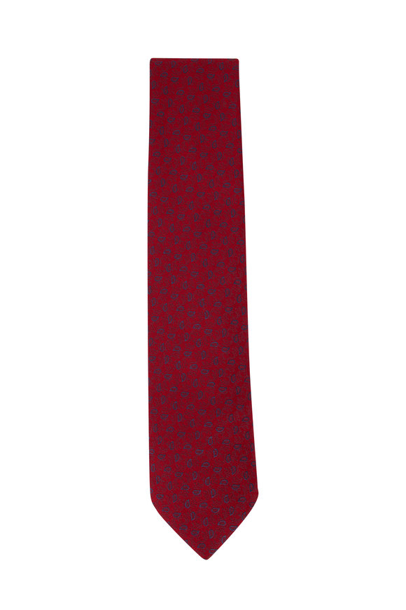 Charvet Red & Blue Paisley Silk Necktie