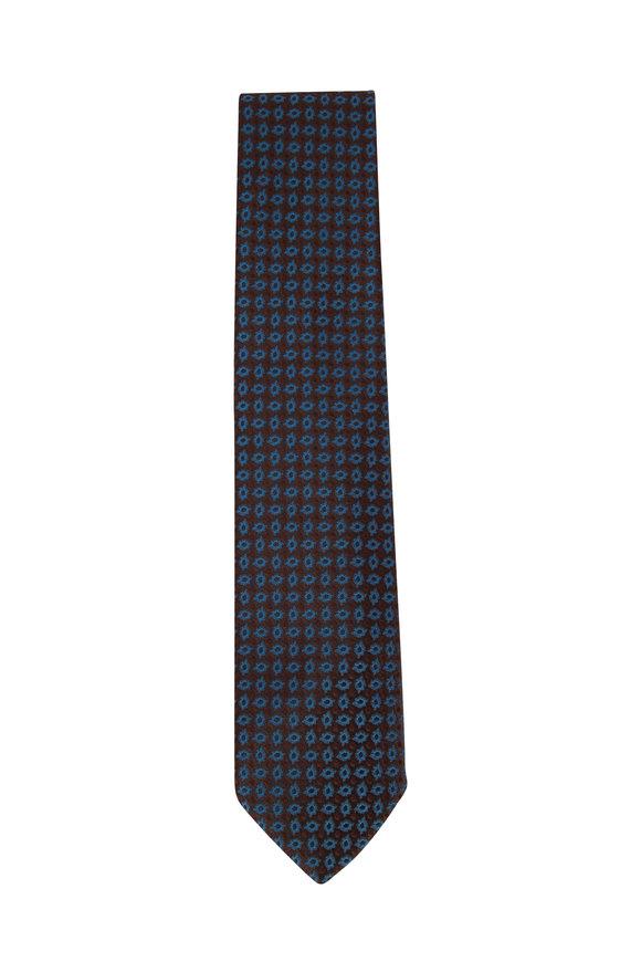 Charvet Brown & Teal Paisley Silk Necktie