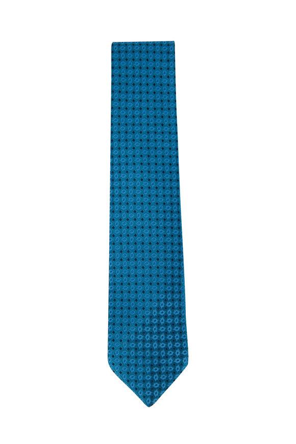 Charvet Teal & Navy Paisley Print Silk Necktie