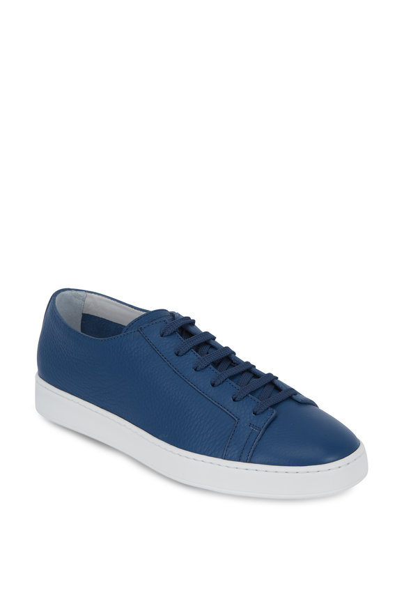 Santoni Cleanic Medium Blue Leather Low Top Sneaker