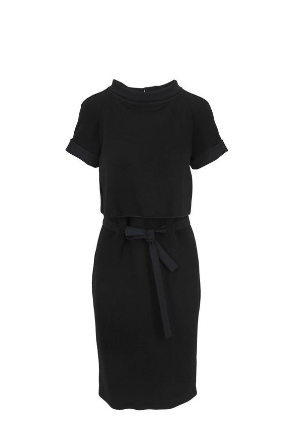 Emporio Armani Black Jersey Ottoman Tie-Waist Dress