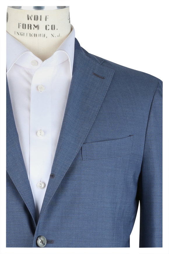 Boglioli Solid Blue Wool Suit