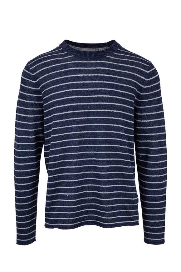 Vince Navy Blue Linen Coastal Stripe Crewneck Sweater
