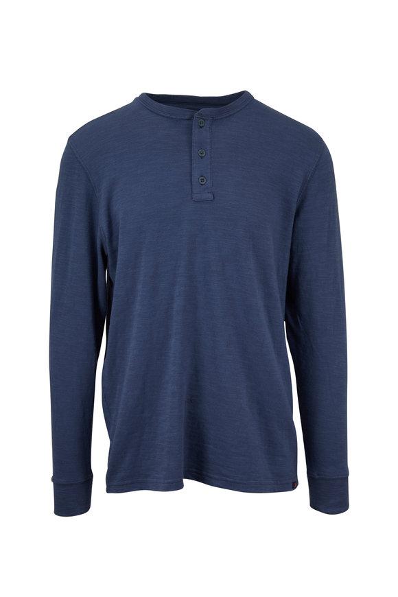 Faherty Brand Navy Slub Cotton Henley