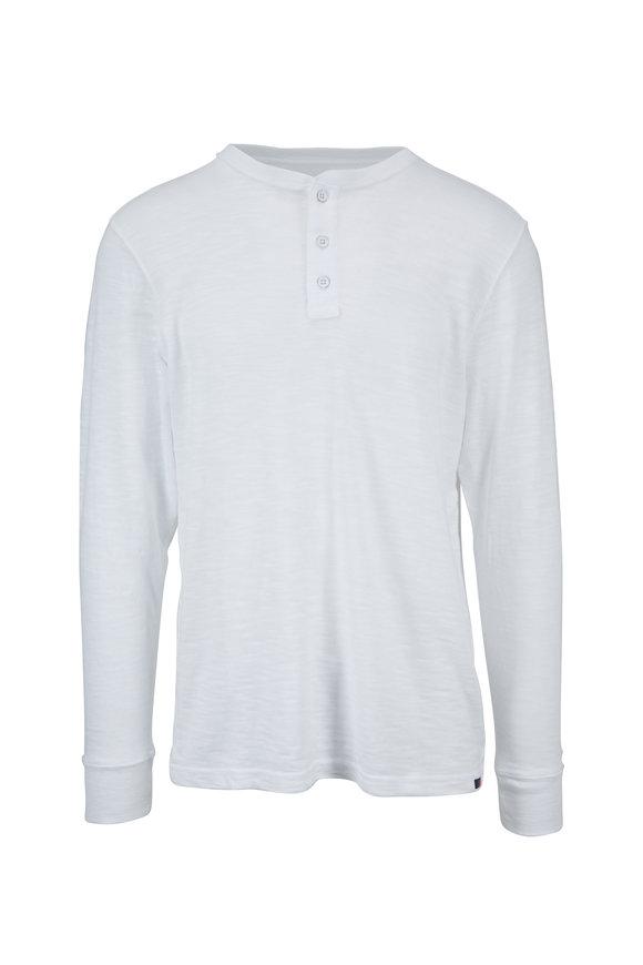 Faherty Brand White Cotton Slub Henley