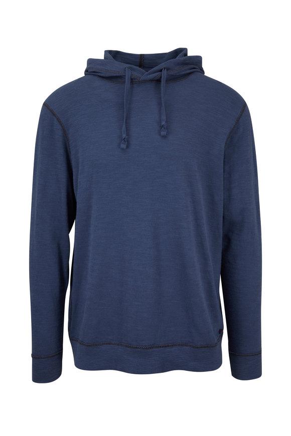 Faherty Brand Navy Slub Cotton Hoodie
