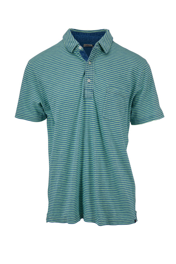 Faherty Brand Salt Wash Green Stripe Polo