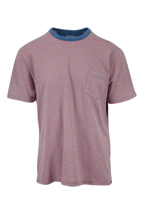 Faherty Brand Salt Wash Pink Stripe Pocket T-Shirt