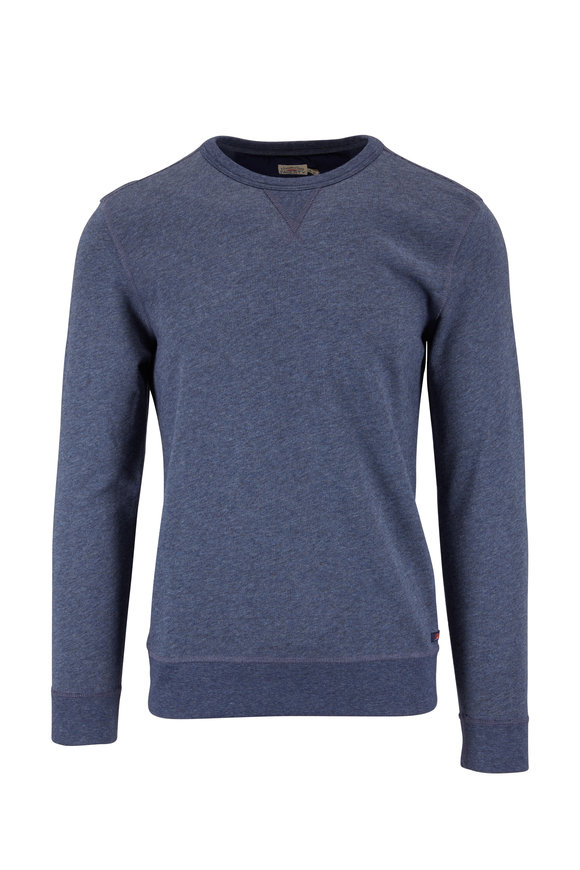 Faherty Brand Navy French Terry Crewneck Sweater