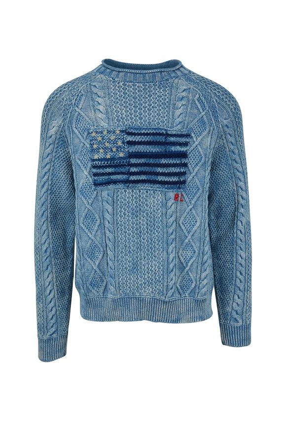 Polo Ralph Lauren Indigo Cotton Flag Cable Knit Sweater