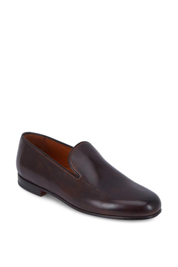 Bontoni Savarese Chocolate Brown Reverse Stitch Loafer
