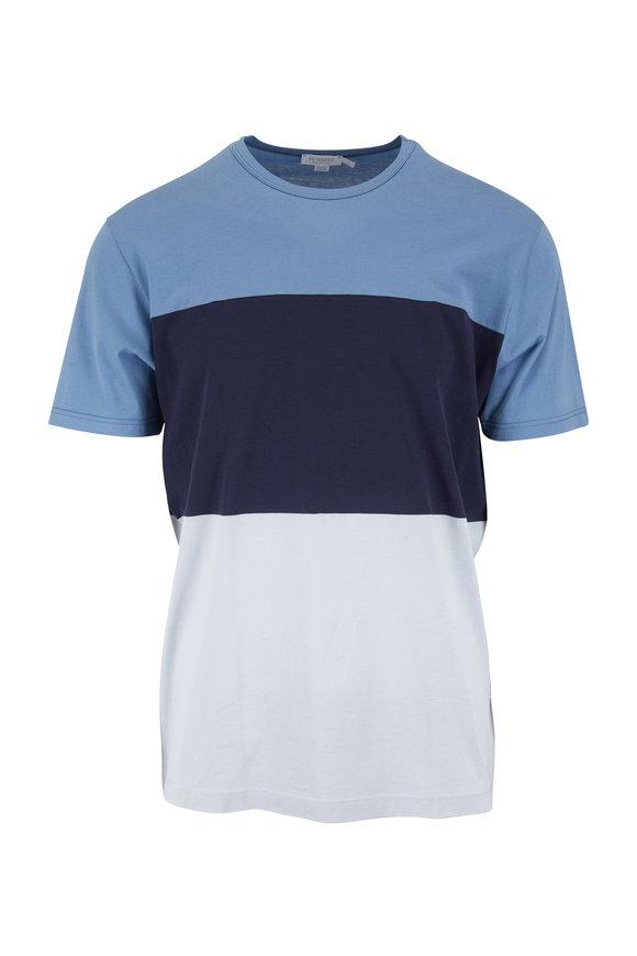 Sunspel Blue Cotton Colorblock Crewneck T-Shirt
