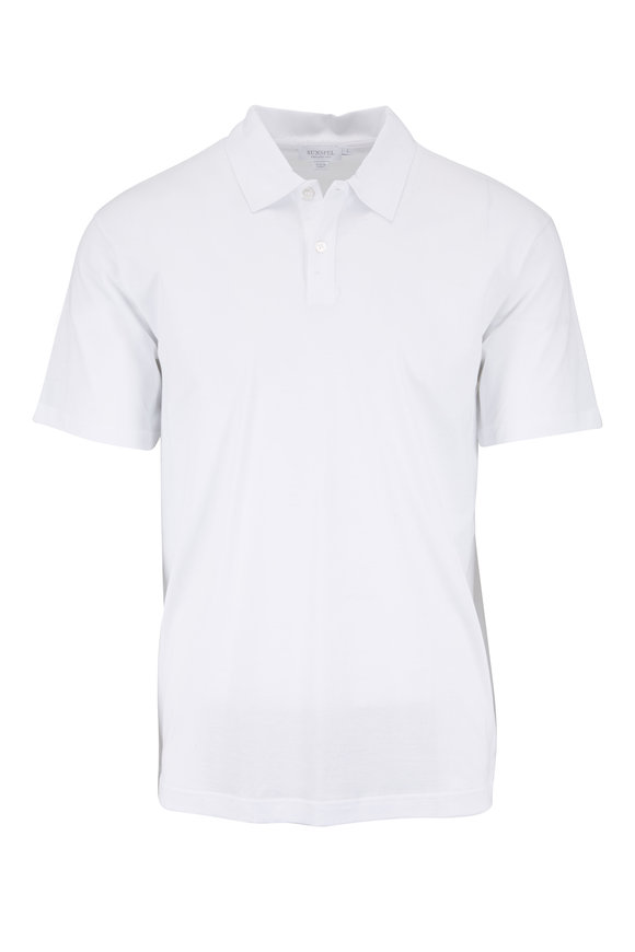 Sunspel White Cotton Polo